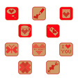 Cross stitch valentine icons collection two vector image