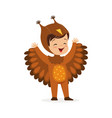 cute happy little boy dressed as an owl kids vector image vector image
