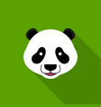 cute panda face isolated on green background vector image