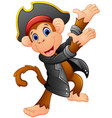 cute pirate monkey presenting vector image