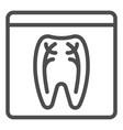 dental xray line icon tooth xray vector image vector image