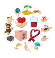 donate given cartoon icons set vector image vector image