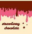 dripping donut glaze background strawberry vector image vector image