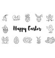 easter doodles large collection hares chickens vector image vector image