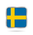 Flag of Sweden Shiny metallic gray square button vector image