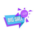 flat bright big sale sticker tag template isolated vector image