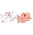 funny cartoon pig isolated on white vector image vector image
