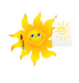 Funny cartoon sun painted picture vector image vector image