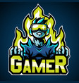 gamer mascot logo sticker design vector image vector image