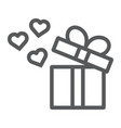 gift line icon love and package gift box with vector image vector image