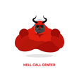 Hell call Center Satan with headset Devil responds vector image vector image