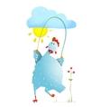 Hen Jumping Rope Childish Cartoon vector image