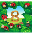 Ladybugs on leaves with number 8 vector image vector image