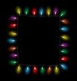 led Christmas lights like frame on black vector image vector image