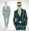 man with skull with hairstyle wearing suit vector image vector image