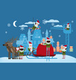 merry christmas and happy new year elves helpers vector image vector image