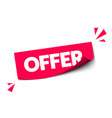 modern red sticker with text offer vector image vector image