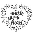 musical notes in the form of a heart icon love vector image vector image