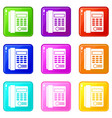 office business keypad phone set 9 vector image vector image