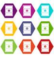 oil barrel icon set color hexahedron vector image vector image
