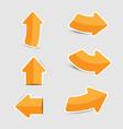 orange arrow sticker paper on white background vector image vector image