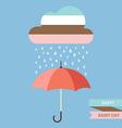Pastel color cloud with Rain drop on umbrella vector image