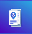 pet location app in smartphone vector image vector image