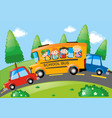 road scene with children riding on school bus vector image