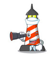 sailor with binocular lighthouse on the beach vector image