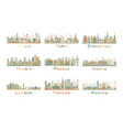 set 9 abstract europe city skyline vector image