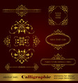 set golden calligraphic elements for design vector image vector image