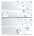 Set of horizontal banners grey with sakura vector image