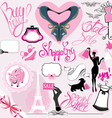set silhouettes glamor clothes and accessori vector image