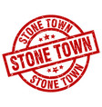 stone town red round grunge stamp vector image vector image