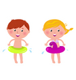 swimming boy and girl vector image