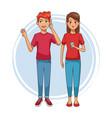 teens with smartphones cartoons vector image