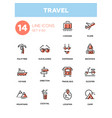 travel - line design style icons set vector image vector image