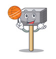 with basketball character of metallic meat vector image vector image