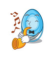 with trumpet oxygen mask mascot cartoon vector image