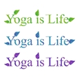 Yoga text - yoga is life vector image vector image