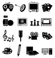 Entertainment icons set vector image