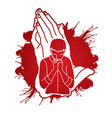 a man prayer cartoon graphic vector image vector image