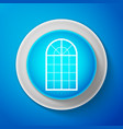 arched window icon isolated on blue background vector image vector image