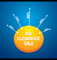 big clearance sale banner design using arrow conce vector image vector image