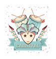 carnival mask with drums vector image vector image