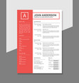 clean resume template vector image