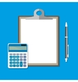 clipboard with empty sheet calculator and pen vector image vector image