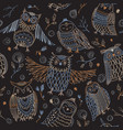 cute owls seamless pattern in boho style with vector image