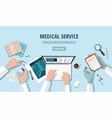 doctors table workplace medicine concept vector image vector image