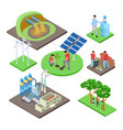 ecology isometric concept with green technologies vector image